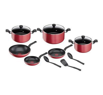 Tefal 12 Pcs Non-Stick Cookware Set, Red