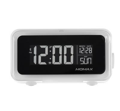 موماكس، ساعة ومنبة ديجتال تدعم الشحن اللاسلكي، أبيض