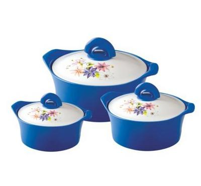 Asian, 3 Pcs 3.5+2.5+1.5 Ltr Hotpot Falcon Deluxe Set, Blue