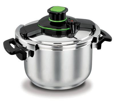 Korkmaz TESSA, 12.0L Pressure Cooker Stainless Body, Black/Stainless