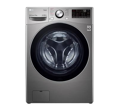 LG Front Load Washer, 15kg, Steam, Wi-Fi, Silver