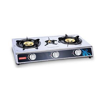 Power 3 Burner Gas Burner Gas Stove, Stainless Steel.