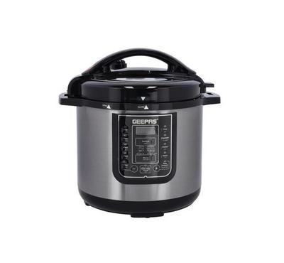 Geepas 12.0L Multi-Function Digital Electric Pressure Cooker,1600W, Black/Silver