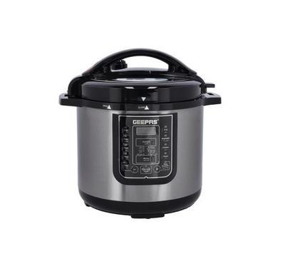 Geepas 8.0L Multi-Function Digital Electric Pressure Cooker, 1200W ,Black/Silver
