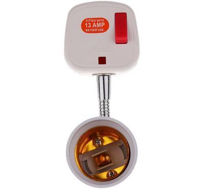 E-Links, E27 Lamp Holder, 13 Ampere with Plug, White