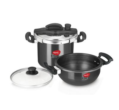 Pigeon 6 Ltr Swift Cooker, 3 Ltr Cooking Pot, Kadai Combi, Black.