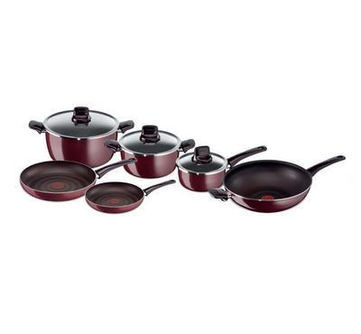 تيفال، طقم مطبخ 9 قطع، أحمر