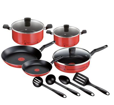 تيفال، طقم مطبخ 12 قطعة، أحمر