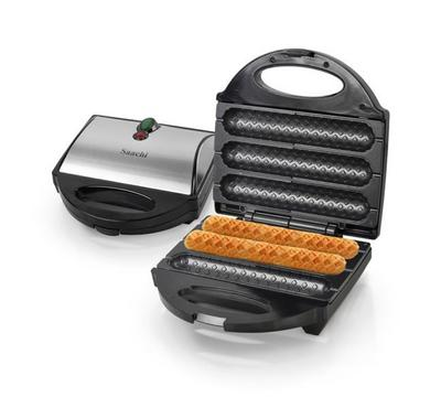 Saachi 3 Pieces Waffle Hot Dog Maker, 700W, Non-Stick Plate, Stainless/Black