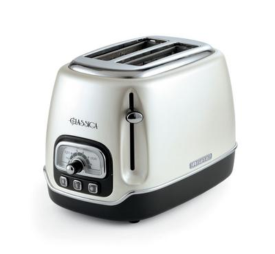 Ariete 810 Watts 2 Slice Bread Toaster, Stainless Steel, Defrost Function, Pearl