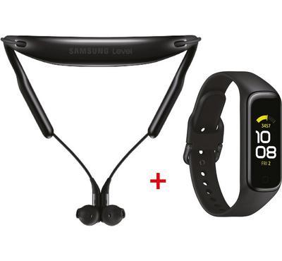 Samsung Level U 2 In-Ear Headphones, Black + Galaxy Fit 2 Watch, Black