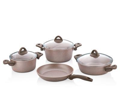 Papilla 12 Pcs Cookware Set, Granite Material, Cream
