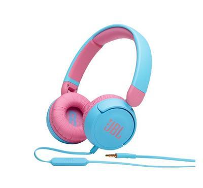 JBL Kids On-Ear Headphones, 5 Watts, Volume Control, Built-in Mic, Blue