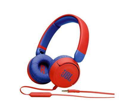 JBL Kids On-Ear Headphones, 5 Watts, Volume Control, Built-in Mic, Red