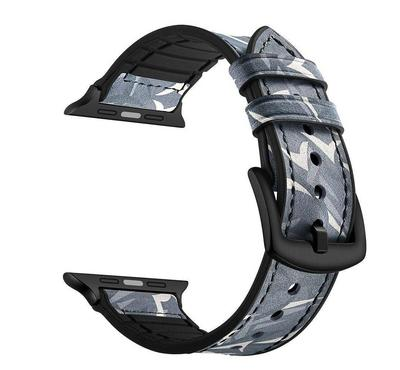 جينيا سوار من الجلد المموه ، متوافق مع ساعة أبل 42 ملم و 44 ملم ، أسود