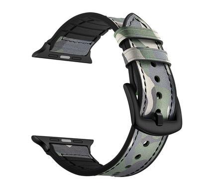 جينيا سوار من الجلد المموه ، متوافق مع ساعة أبل 42 ملم و 44 ملم ، أخضر
