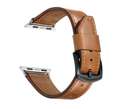 جينيا سوار من الجلد، متوافق مع ساعة أبل 42 ملم و 44 ملم ، بني