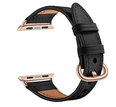جينيا سوار من الجلد، متوافق مع ساعة أبل 42 ملم و 44 ملم ، أسود
