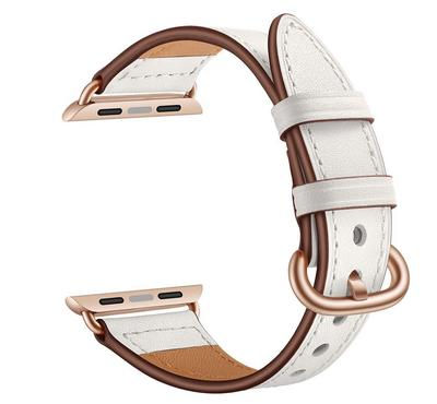 جينيا سوار من الجلد، متوافق مع ساعة أبل 42 ملم و 44 ملم ، أبيض