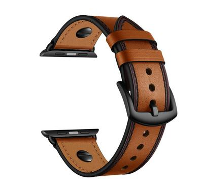 جينيا صن سيت سوار، جلد، متوافق مع ساعة أبل 42 ملم و 44 ملم، بني فاتح