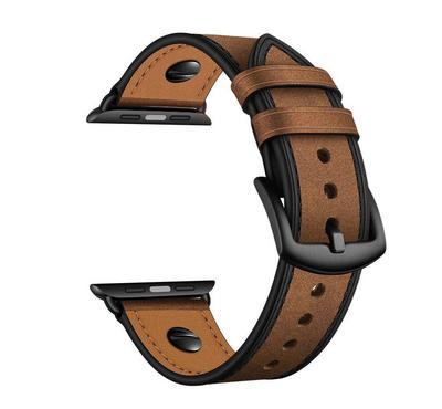 جينيا صن سيت سوار، جلد، متوافق مع ساعة أبل 42 ملم و 44 ملم، بني غامق