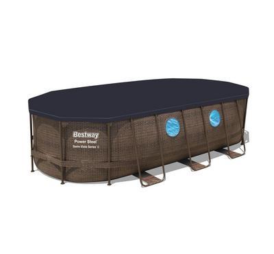 Bestway POWERSTEEL 5.49x2.74x1.22m Outdoor Oval Inflatable Pool Set, Brown