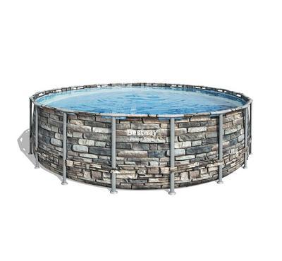 Bestway POWERSTEEL 549x132cm Round Inflatable Pool Set, Grey