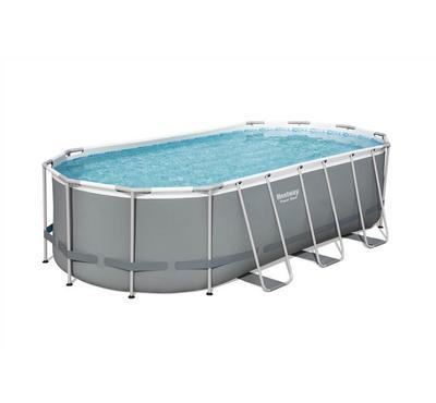 Bestway POWERSTEEL 5.49x2.74x1.22m Oval Inflatable Pool Set, Grey