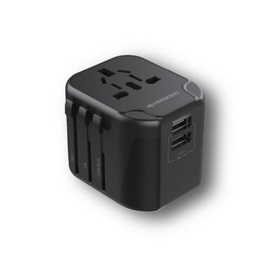 Riversong Universal Travel Adaptor, 2 USB Ports, Black