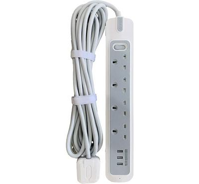 Rafeed Electric, 2Meter Power Extension Socket, 3250W, 3 Usb Ports, White/Grey