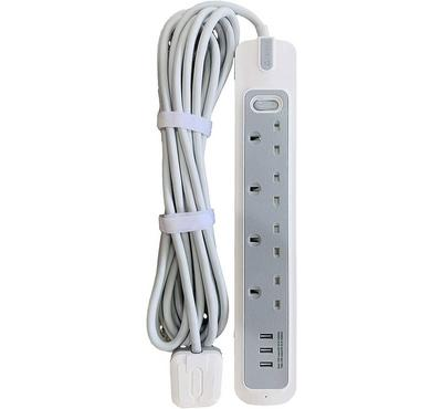 Rafeed Electric, 5Meter Power Extension Socket, 3250W, 3 Usb Ports, White/Grey