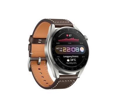 هواوي ساعة ذكية 3 برو، 48 مم، سوار جلد، إطار رمادي