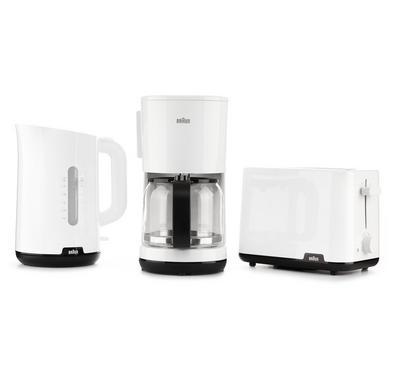 براون مجموعة إفطار، صانعة قهوة1000 واط، غلاية 1.7 لتر، حماصة خبز شريحتين