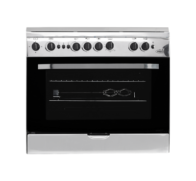 Frego Gas Cooker, 90x60, 5 Gas Burners, Triple Ring,Full Safety, Stainless Steel