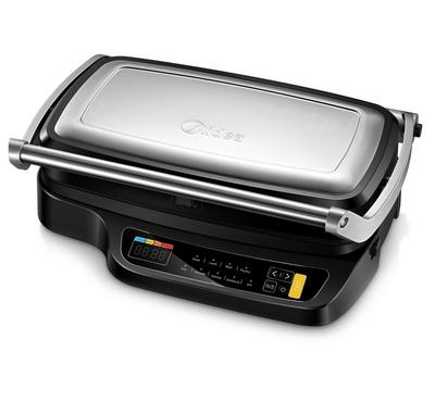 Midea,Digital Electric Grill With Removable Plates, 2100W, Silver