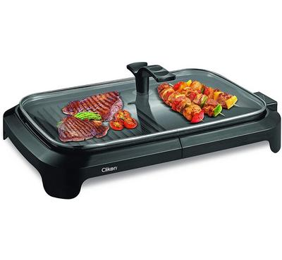 Clikon Electric Tabletop Grill With Glass Lid Non-Stick Plate 1600W Black